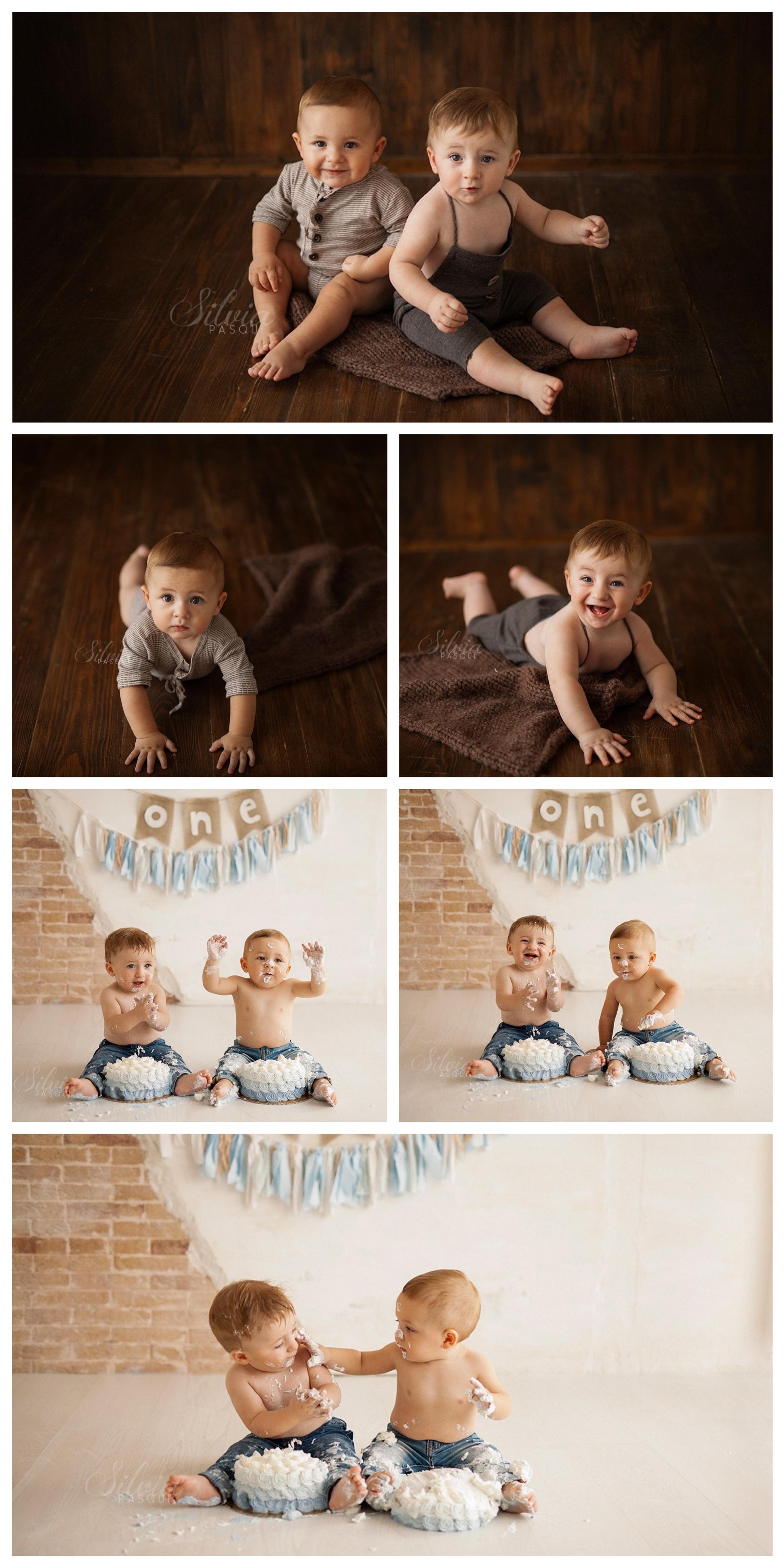 gemelli foto con torta un anno